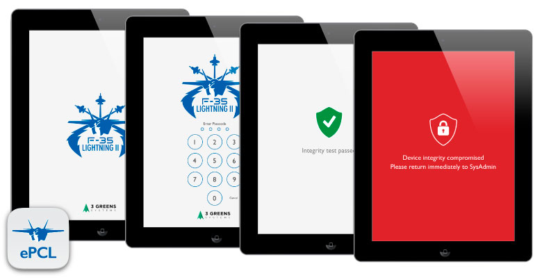 Electronic Pilot Check List app, secure access and full device integrity check system