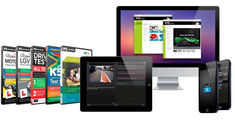 Some of the Learner Driving related products we offer, online, mobile apps (iOS & Android), and DVD for both computer and DVD player