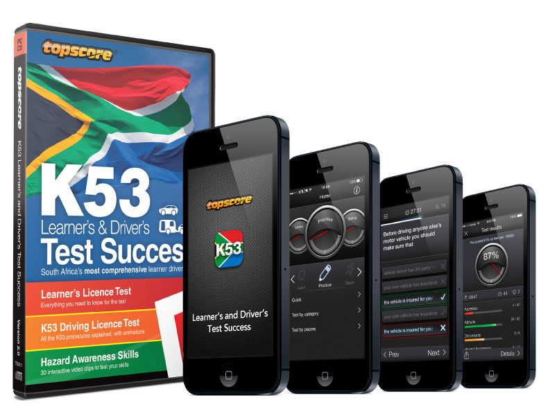 Toscore k53 Test Success, CD-ROM and download, iOS and Android mobile apps (iPhone and iPad). Learner driver software for the South African market.